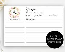 recipe card template editable recipe cards monogram recipe card