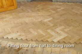 oak parquet flooring with walnut border