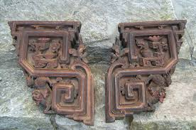 Wooden Corbels For Sale Pair Of Chinese Corbels With Foo Dogs And Pagodas C1800 Item