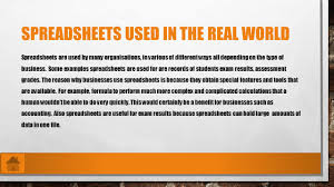 Spreadsheet Software Examples Aaron Crockett Spreadsheets Used In The Real World Examples Of