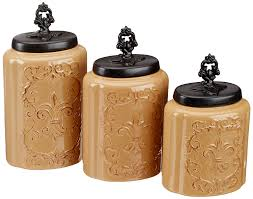 Fleur De Lis Canisters For The Kitchen Amazon Com American Atelier Canisters Cream Antique Set Of 3
