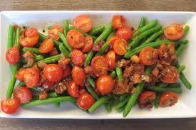 cuisine haricot vert warm salad with cherry tomato haricot vert and pancetta recipe on food52