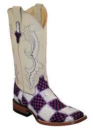 s quarter boots ferrini boots womens patchwork purple white square toe