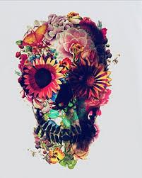 sugar skull t shirt flower printed white t shirts plus size