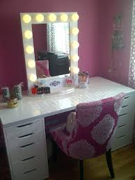 Black Vanity Table Bathroom Lighted Makeup Table With Mirror And Bench Nytexas