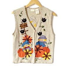 scarecrow and pumpkins fall thanksgiving vest