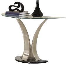 Curved Sofa Table Homelegance Charlaine Half Moon Glass Sofa Table On Chrome Pillars