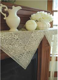 chantilly lace mantel scarf with fringe