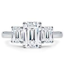 three emerald cut engagement rings emerald cut 3 engagement ring setting r3060