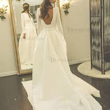 simple a line wedding dress bateau long sleeves court train