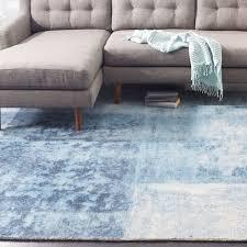 Blue Wool Rug Distressed Rococo Wool Rug Blue Lagoon West Elm Au