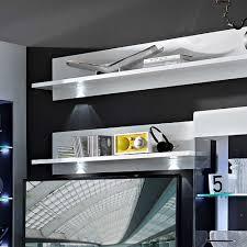 Wohnzimmerschrank Niedrig Hochglanz Wohnwand Higuley In Weiß Grau 310 Cm Pharao24 De