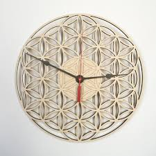 wall clock flower of life wooden clock wood clock wooden