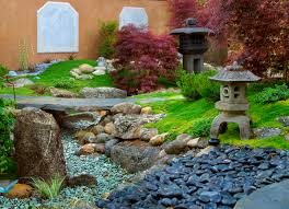 How To Create A Rock Garden by Stone Lamps Plants And Patios In Backyard Garden Of Modern Home