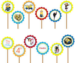 minion printable cupcake toppers despicable inspired
