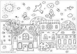 spring landscape coloring pages coloring
