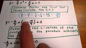convert a quadratic with fractions to vertex form by partial factoring fractions