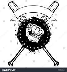 vector illustration crossed baseball bats hand stock vector
