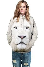 white lion print hooded stylish sweatshirt hoodies u0026 sweatshirts