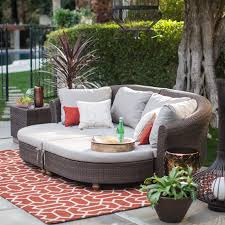 Curved Wicker Patio Furniture - belham living polanco curved back all weather wicker sofa daybed