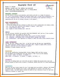 Resume Template For Teenager First Job by How To Write Cv For Teenagers