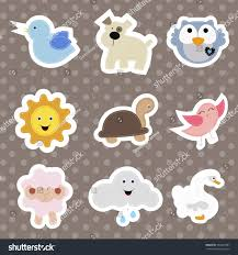 set childrens stickers cute animals cartoon stock vector 560409367