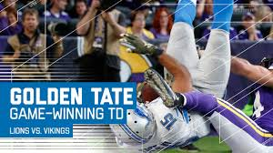 who do the lions play on thanksgiving golden tate flips into the end zone for the game winning td