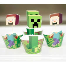 minecraft cake topper minecraft characters cupcake wrappers toppers this party started