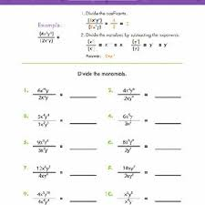 dividing monomials algebra worksheets education com