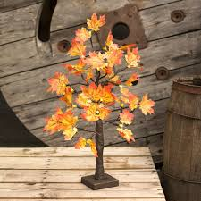 led lighted maple tabletop tree fall color leaves 21 in warm white
