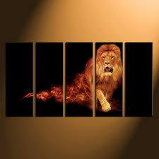 5 piece group canvas animal multi panel canvas lion huge canvas