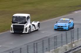 2016 volvo big rig watch a 2 800 hp battle between a volvo s60 polestar and a big rig