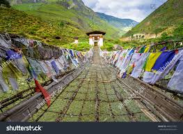 Small Prayer Flags Walking Suspension Bridge Colorful Prayer Flags Stock Photo