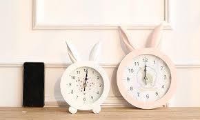rabbit home decor home white creative rabbit ear wooden wall quartz desktop clock