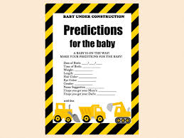 Download Baby Shower Games Predictions For Baby Construction Baby Shower Game Printables