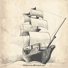 vintage sketch of galleon background vector free download