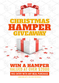 win a christmas hamper template with gift box and scattered star