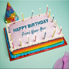 print friend name on happy birthday tiffany cake picture
