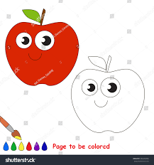 red apple colored coloring book stock vector 434426464