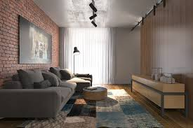 brick wall apartment 56 sqm small apartment interior design with luxury modern decor