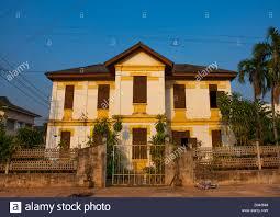old french colonial house savannakhet laos stock photo royalty