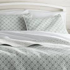 Grey Quilted Comforter Quilts U0026 Coverlets King Queen Full U0026 Twin Crate And Barrel