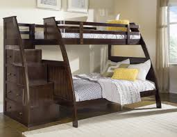 Modern Dark Wood Bedroom Furniture Bedroom Modern Dark Lacquered Pine Wood Bunk Bed With Drawers