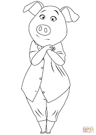 pig rosita from sing coloring page free printable coloring pages