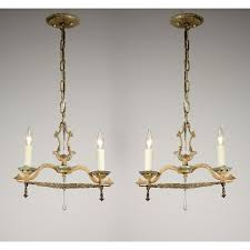Neoclassical Chandeliers Two Matching Antique Neoclassical Two Light Chandeliers Original