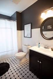 black and white bathroom beadboard halfway up with color instead