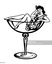 cartoon wine glass woman inside cocktail glass stock illustration getty images
