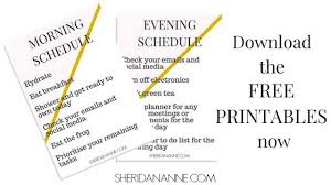printable evening schedule how to create a morning and evening schedule sheridan anne
