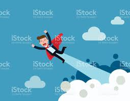 Super Concepts by Super Businessman In Red Capes Flying Upwards To Success With