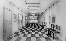 how to draw one point perspective corridor of hospital waiting